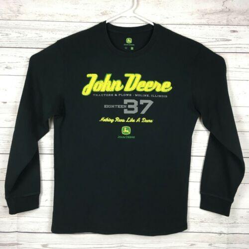 John Deere Mens L Thermal Underwear Long Sleeve Shirt Black