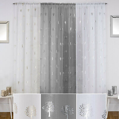 Birch Tree Curtains (BIRCH Metallic Trees Print Voile Net Curtain Ready Made Slot Top Single)