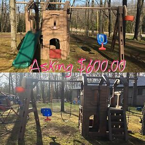 Swing Set, Playhouse and Slide