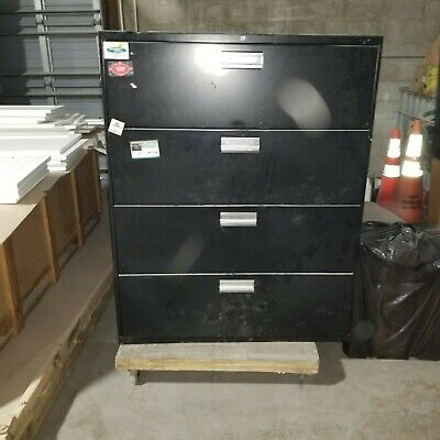Black Three-drawer Lateral File - L 51 X W 42 X 32