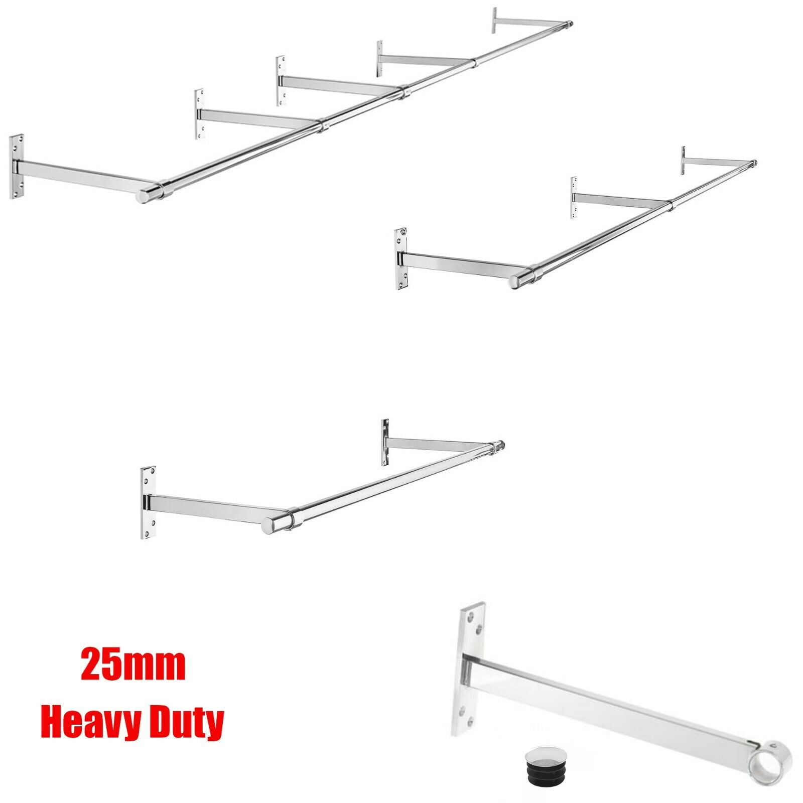 25mm 6ft GARMENT CLOTHES RAIL WALL MOUNTED HANGING RAIL DISPLAY TUBING SYSTEM