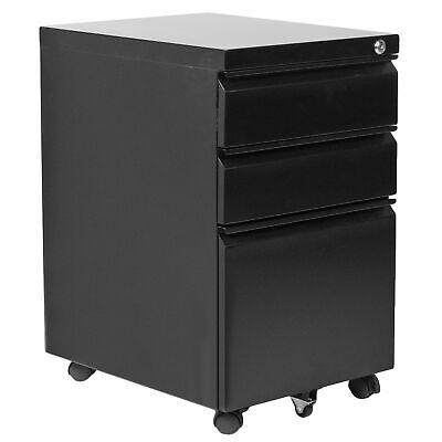 Vivo Black 3 Drawer Mobile File Cabinet With Lock Rolling Pedestal Cabinet