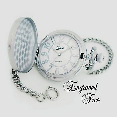 Personalized Pocket Watch Silver Speidel Warranty Fathers Day, Best Man