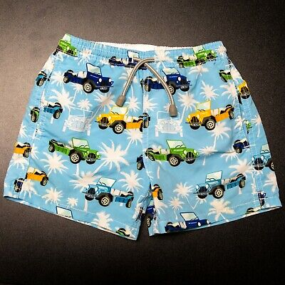 Mc2 Saint Barth Boys Size 8 Swim Shorts Blue Trucks Print Cute Summer EUC