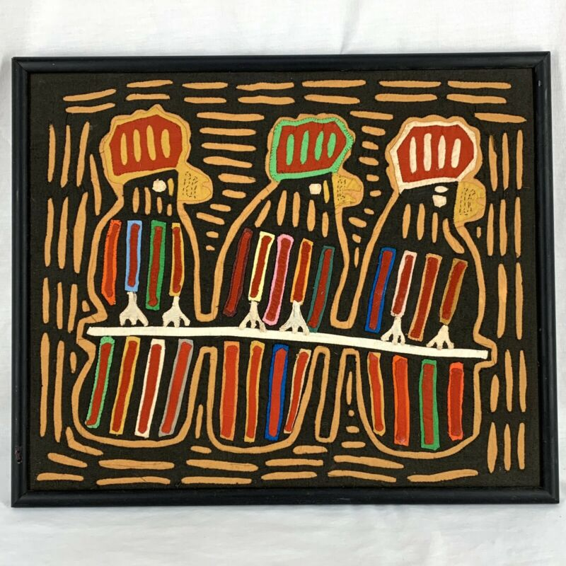 MCM Folk Art Fiber Art Colorful Birds On A Wire Boho Decor Framed 14 x 17