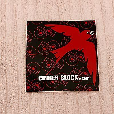 "CINDERBLOCK.COM Red & Black Bird CB Cinder Block Logo Sticker Decal Square 3""x3"""