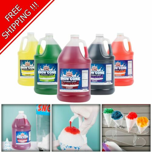 """4 Pack """"Your Choice"""" 1 Gallon Syrup Mix Flavors Snow Cone Machine Shaved Ice NEW"""