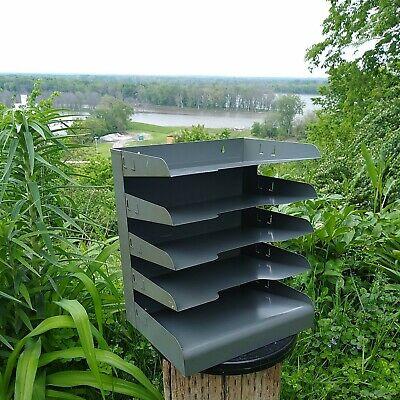 Vintage Industrial Gray Metal Desk Paper Organizer 6 Trays File Tiers Lit-ning