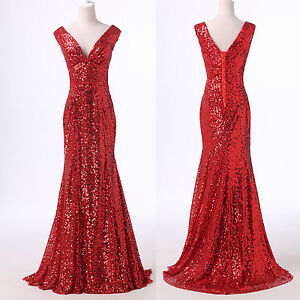 New Mermaid Sequins Sexy Long Wedding Bridesmaid Formal Evening Prom Party Dress