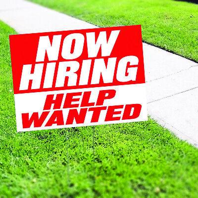 Now Hiring Help Wanted Job Advertising Indoor Outdoor Coroplast Yard Sign