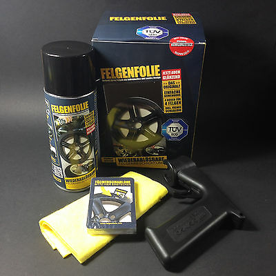 Sprühfolie Felgenfolie Set 4x 400ml schwarz glänzend + Sprühpistole Sprayboy