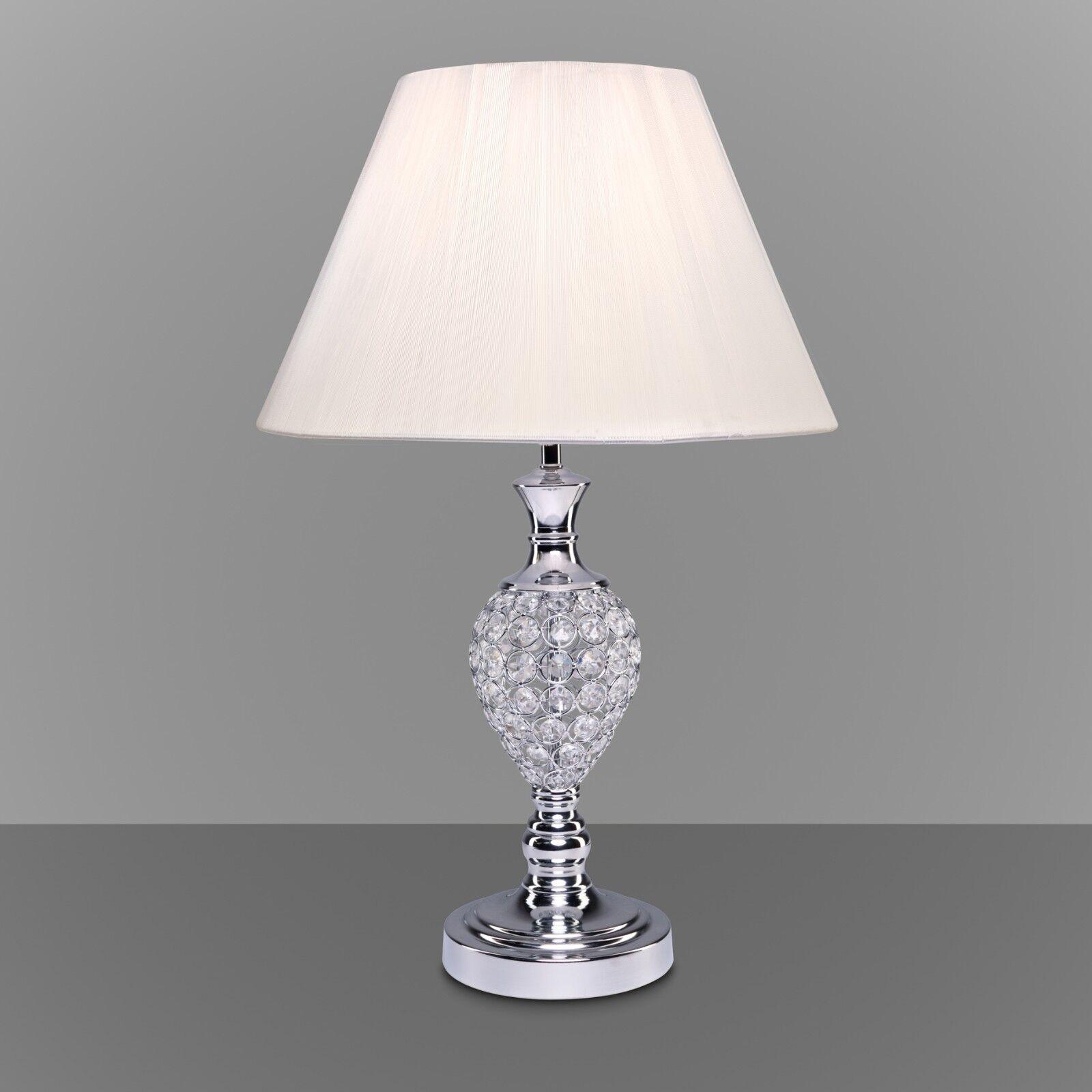 Hannah Chrome Crystal Table Lamp Ivory Shade Modern Bedside Bright 5060377986944 Ebay