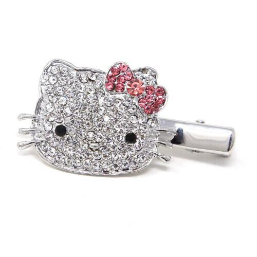 NEW Silver Metal Crystal Rhinestones Hello Kitty Cat flower hair pin