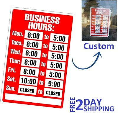 Plastic Business Hours Door Window Store Sign Opening Times Open Closed Outdoor