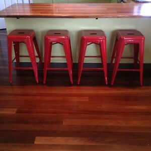 Set of 4 Red Tolix Stools Brookwater Ipswich City Preview