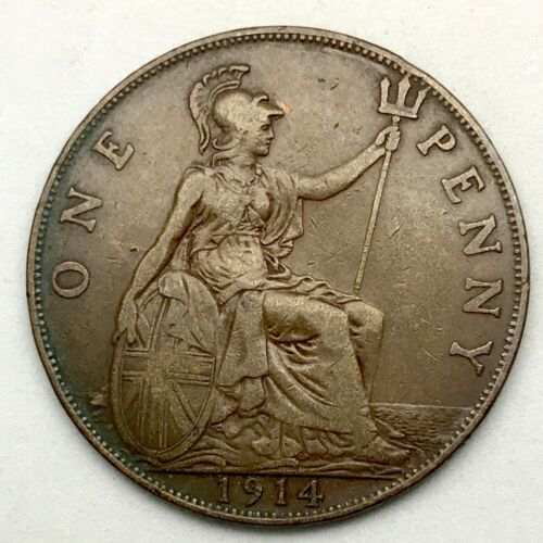 1914, GREAT BRITAIN, GEORGE V - ONE PENNY, BRONZE  COIN  - KM# 810
