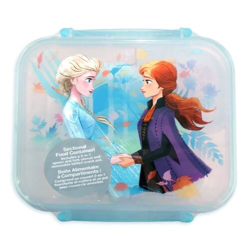 DISNEY STORE FROZEN ELSA AND ANNA FOOD CONTAINER LUNCH SECTIONAL STORAGE NEW