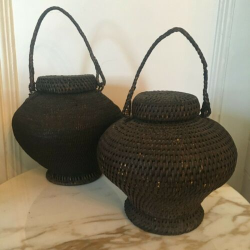 Antique Pair Hand Woven Asian Rice Storage Basket/Urns With Lids & Handles