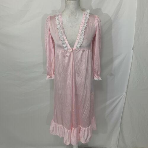 Vintage Her Majesty Girls Sz 8 Pink White Lace Trim One Button Nylon Robe