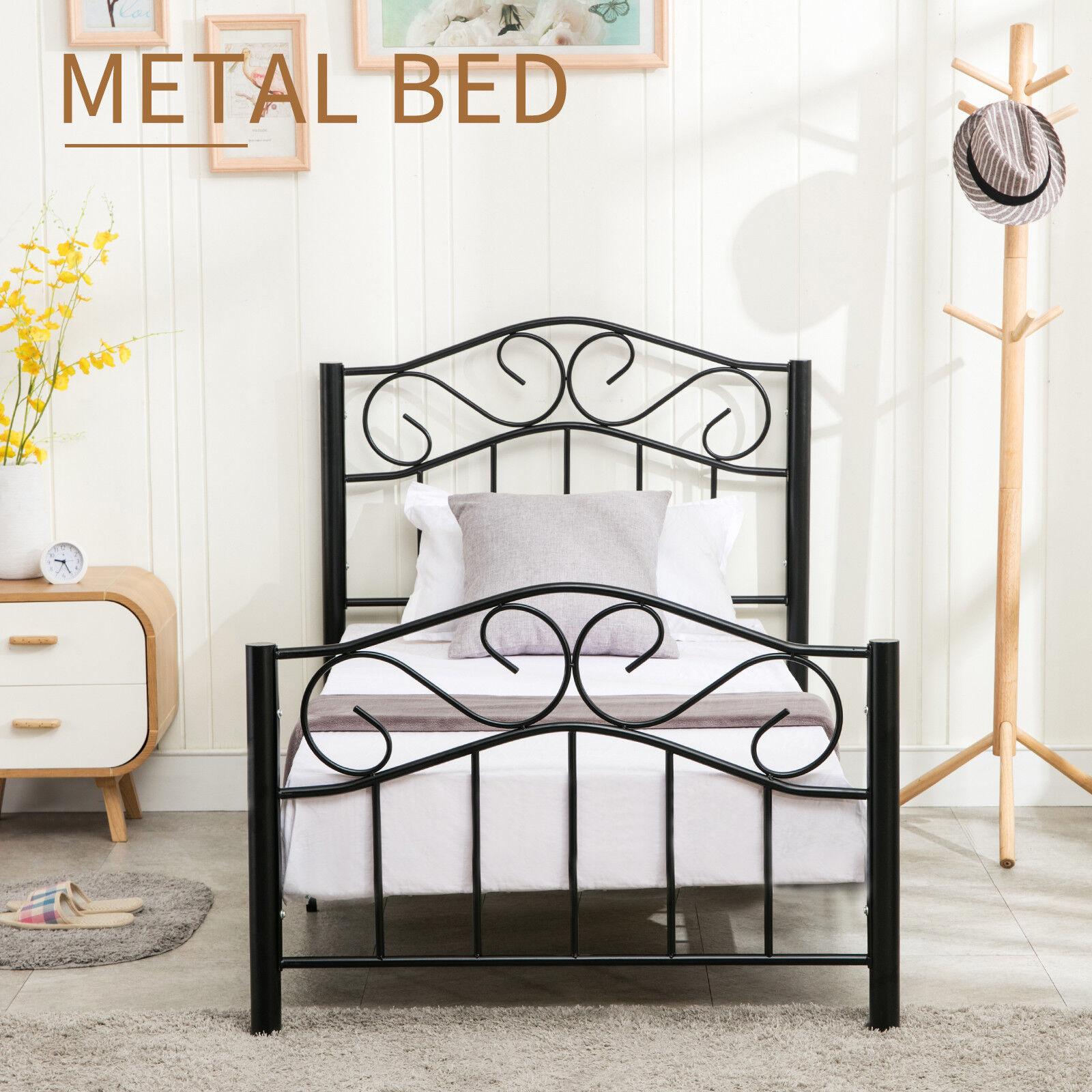 Heavy Duty Twin Size Metal Bed Frame w/Headboard & Footboard Girls ...