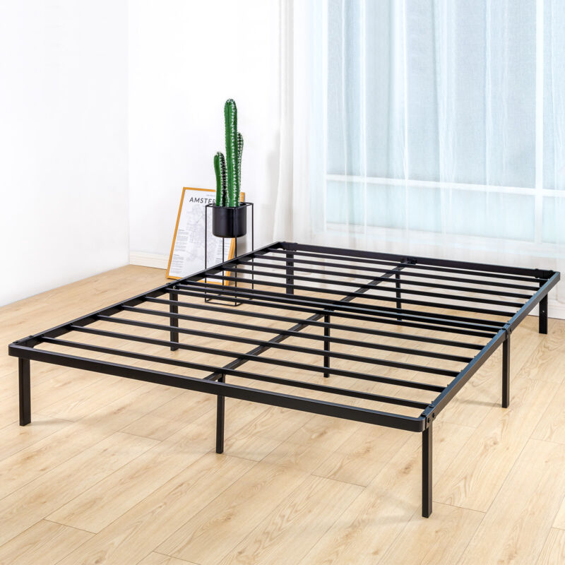 Queen Size BedStory Metal Platform Bed Frame Heavy Duty Mattress Foundation