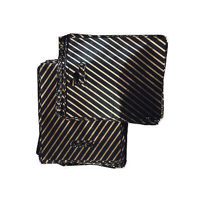 100 Black / Gold Stripe Plastic Carrier Bags - 23cm x 28cm Patch Handle