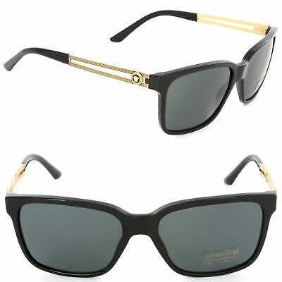 NEW Versace VE4307 GB1/87 Square Sunglasses Black / Grey Lens VE 4307