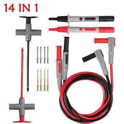 14 In 1 Multimeter Test Lead Kit Wire-piercing Probe Clip For Fluke Meter Power