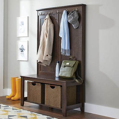 Hall Tree Storage Bench Coat Rack Entryway Hat Wood Seat Stand Hooks Entry Shoe