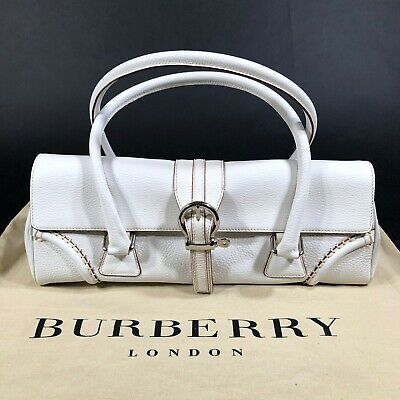 Authentic Burberry London Small White Saddle Flap Handbag Equestrian Preppy NWT