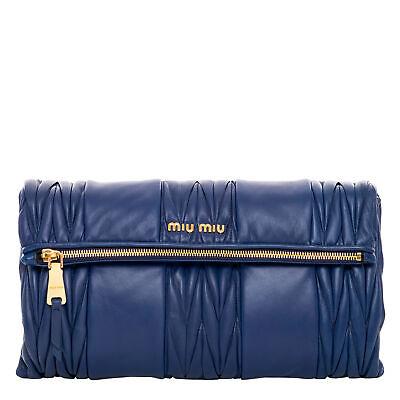 Miu Miu Women's Matelasse Patch Clutch Shoulder Bag Blue
