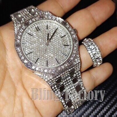 HIP HOP ICED SILVER PT BLING LAB DIAMOND WATCH & FULL ICED RING COMBO GIFT SET
