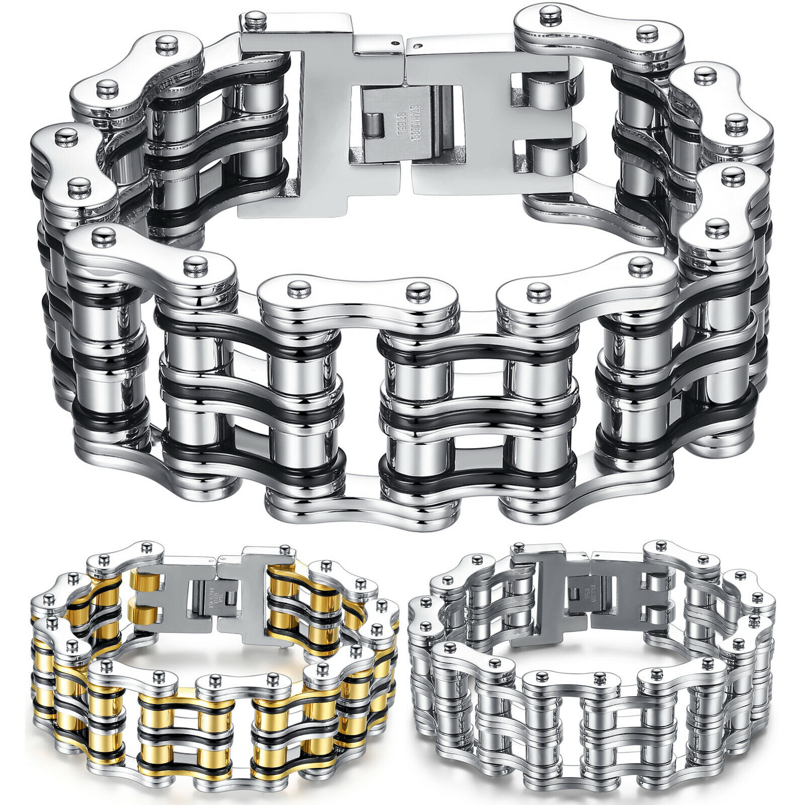 Mens Bold Masculine Stainless Steel Large and Heavy Bicycle Chain Biker Bracelet Bracelets