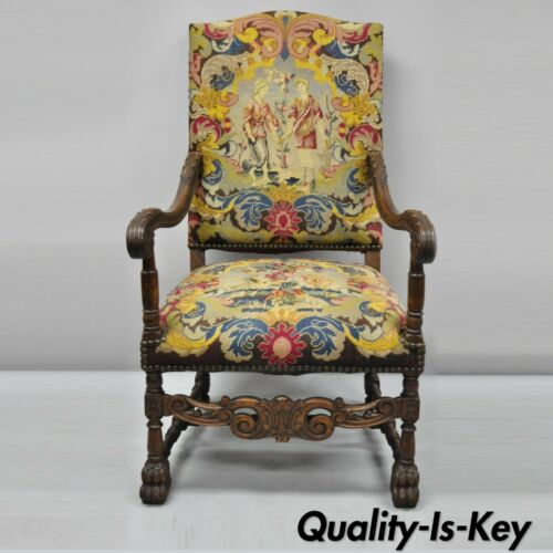 19th C. French Renaissance Needlepoint Upholstery Carved Walnut Throne Arm Chair
