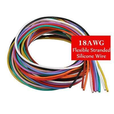 75100m 18awg Flexible Silicone Wire Cable 11 Colors Stranded Tinned Copper Pcb