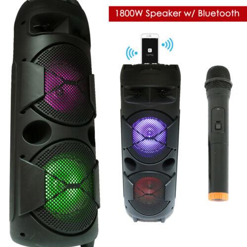 """Doul 8"""" 1800 Watts Rechargeable PA DJ  Bluetooth Speaker w/ Light + Wireless Mic"""
