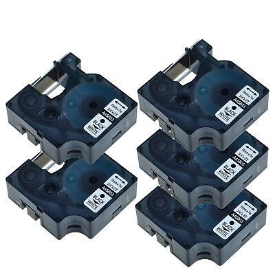 5 Pk Black On White Label Tape 45803 For Dymo D1 5200 6000 19mm 34 Labelwriter