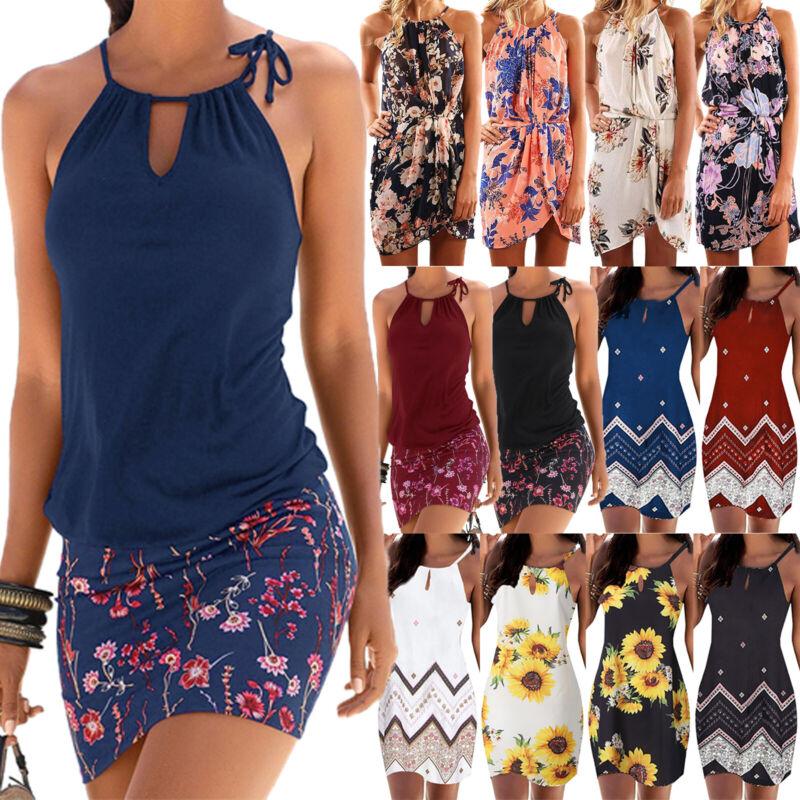 Damen Neckholder Sommerkleid Strandkleid Trägerkleid Slim Boho Blumen Kleider