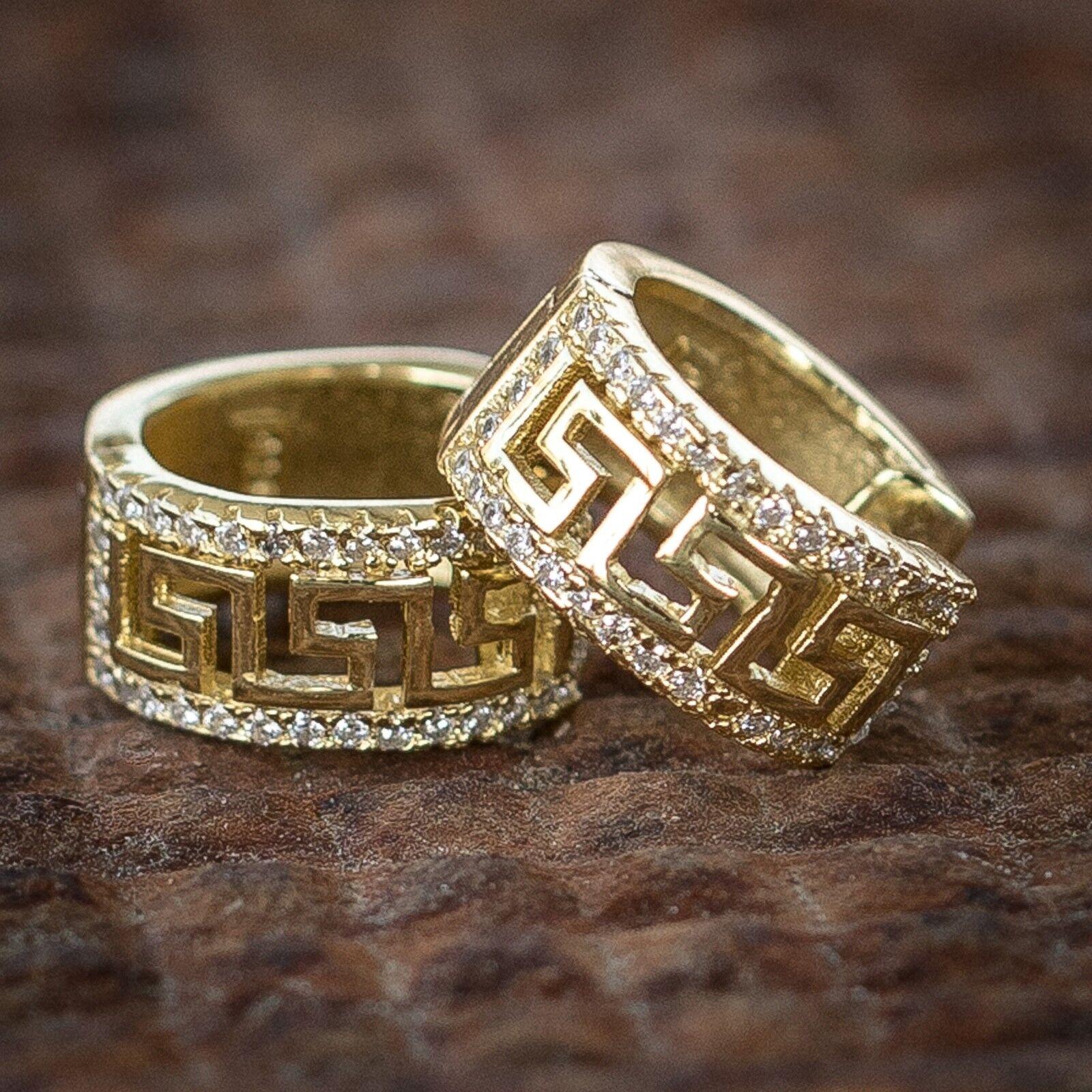 Mens Womens 14k Gold Sterling Silver Diamond Greek Key Style Hoop Earrings