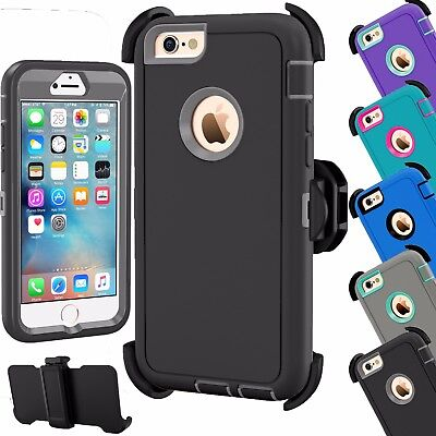 Shockproof Hard Case Cover For Apple Iphone 6 6S Plus  Fits Otterbox Belt Clip
