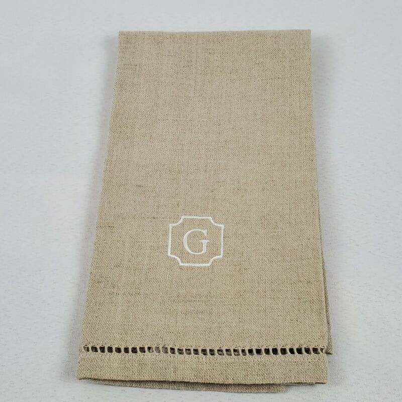 Pottery Barn Linen Cotton Guest Hand Towel Monogram Initial G Beige with White