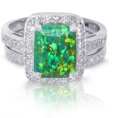 Large Emerald Cut Green Fire Opal Wedding Engagement Sterling Silver Ring Set