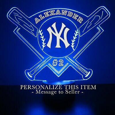 New York Yankees MLB Baseball Personalized FREE Light Up 3D Illusion LED Light  New York Yankees Led