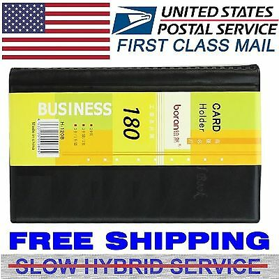Leather 180 Cards Business Name Id Credit Card Holder Book Case Keeper Organizer