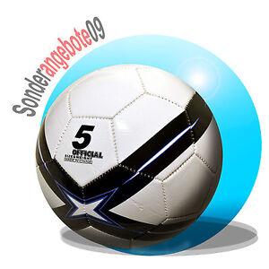 Fussball aufgepumpt Größe 5 Freizeitball weiß schwarz blau Ball Spielball Kreuz