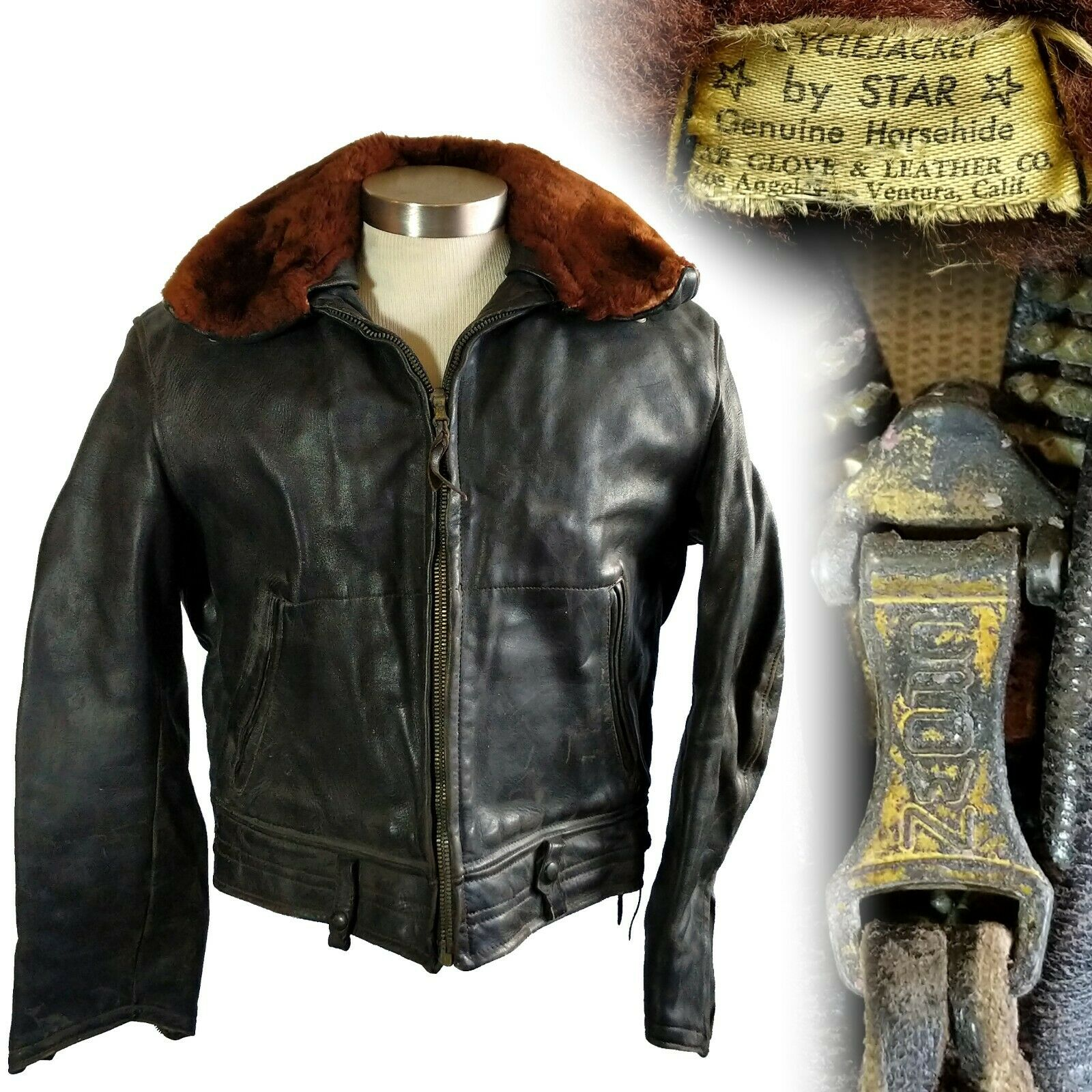Vintage 1940s Star Glove Horsehide Leather Motorcycle Jacket Mouton Collar 46