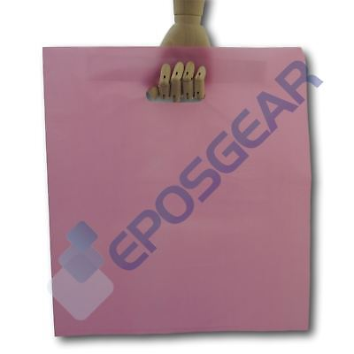 100 Extra Large Pink Punch Out Handle Gift Fashion Party Plastic Carrier Bags