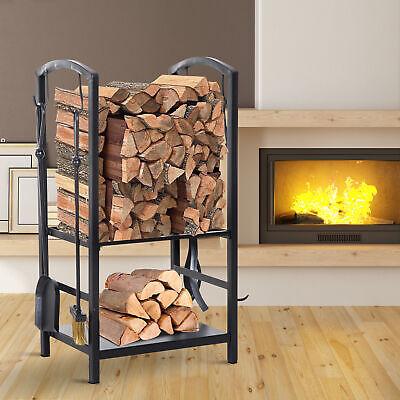 Steel 2-Tier Heavy Duty Firewood Rack Indoor Outdoor Log Holder with 4 Tools -