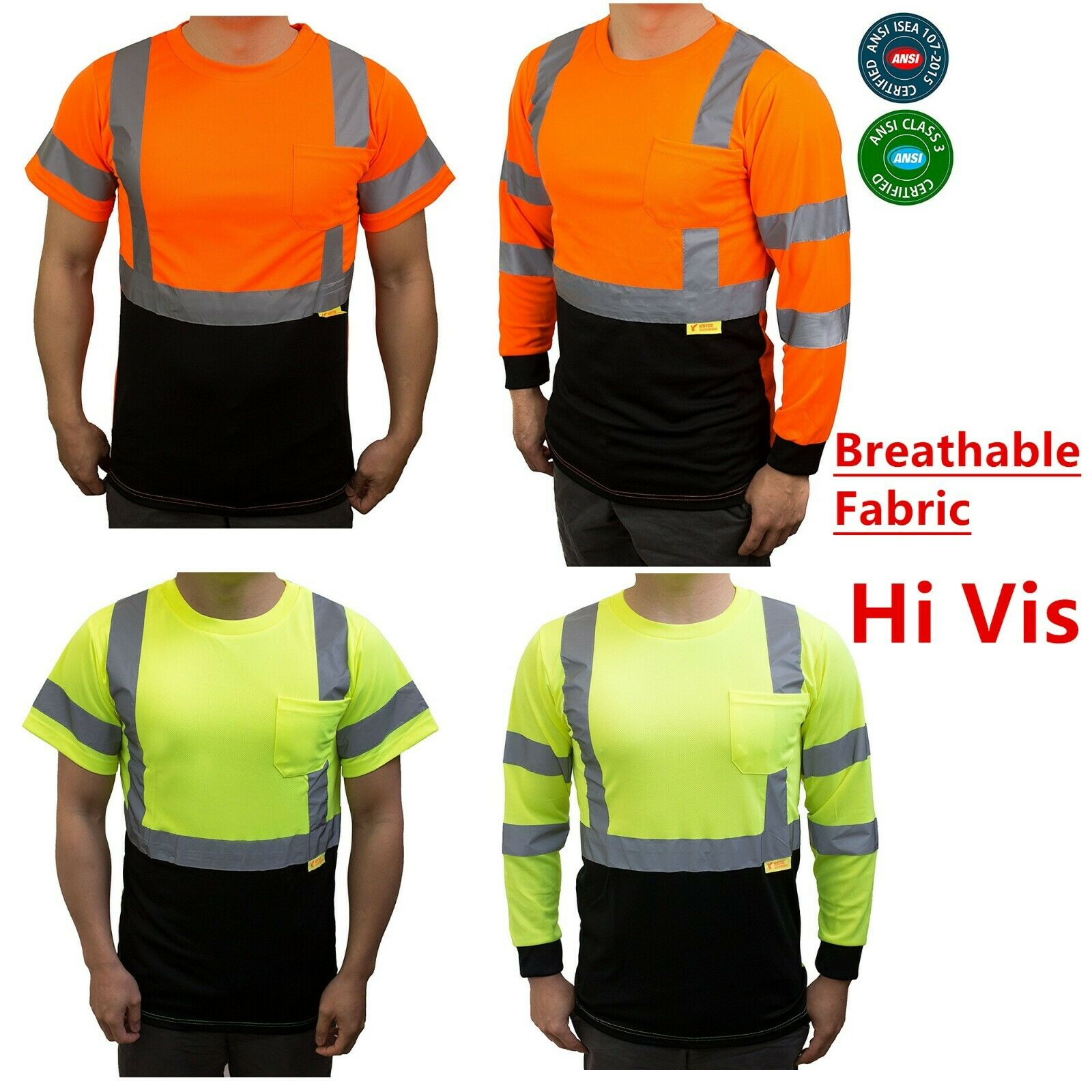 Hi Vis ANSI Class 3 Safety Shirt  Moisture Wicking Mesh Long