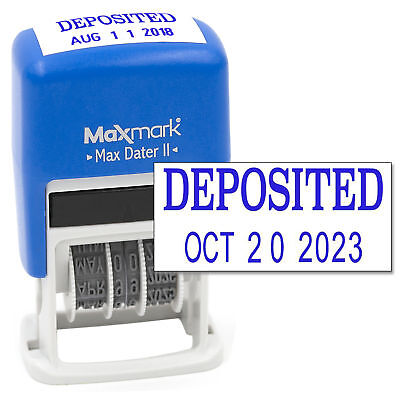 Maxmark Self-inking Rubber Date Office Stamp With Deposited Phrase Date - Blue